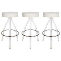 Set of Three 1970s Lucite Bar Stools
