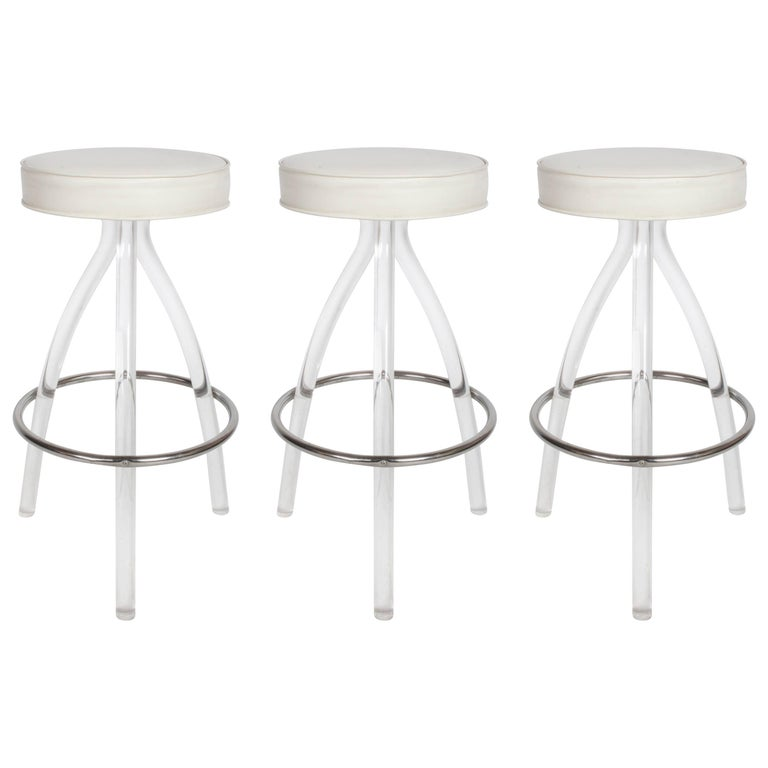Set of Three 1970s Lucite Bar Stools For Sale