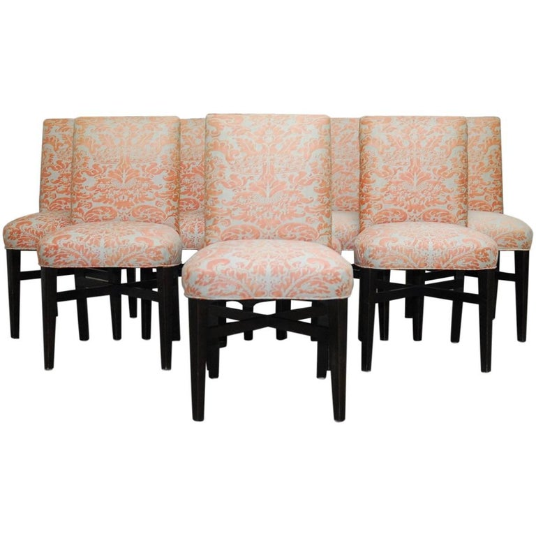 Set of Eight Fortuny Corone Upholstered Dining Chairs