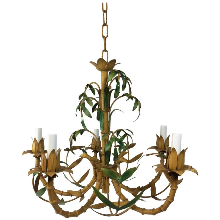 Tole Painted Palm and Faux Bamboo Chandelier 1