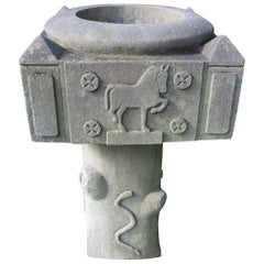 Limestone Planter with Carved Horse Rooster Cow Snake and Bird
