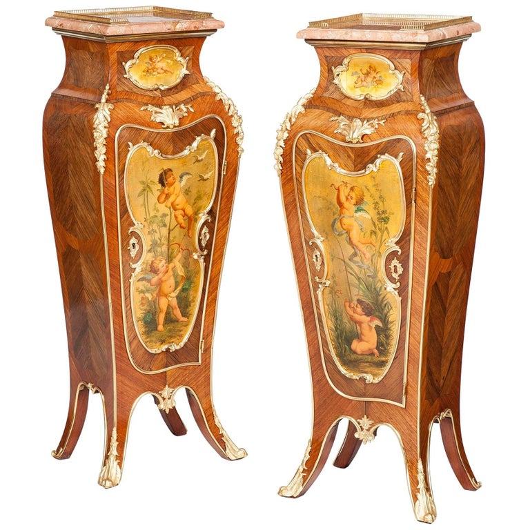 Pair of French 19th Century Gilt Painted Wooden Pedestals For Sale