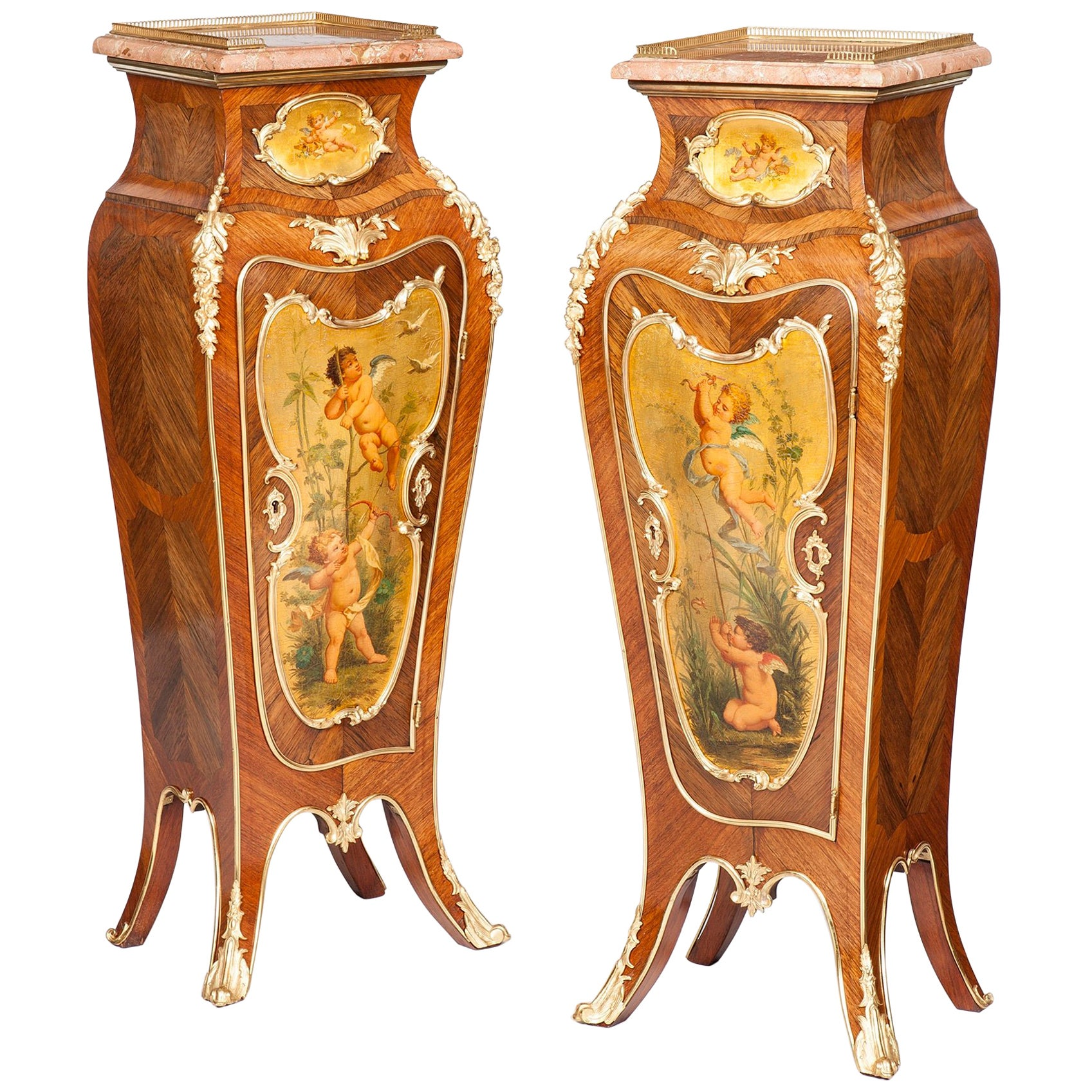 Pair of French 19th Century Gilt Painted Wooden Pedestals