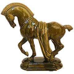 Midcentury Ceramic Greek Horse Statue