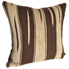 Custom Moroccan Pillow Cut from a Vintage Hand Loomed Wool Ourika Kilim