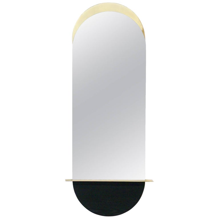 Solis Mirror, Tall, in Lacquered Brass and Blackened Ash by Simon Johns