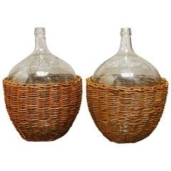 Pair of Woven Willow Demijohn Glass Wine Bottles