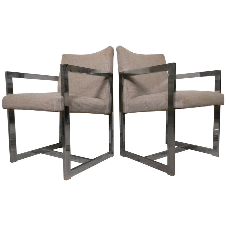 Pair of Chrome Armchairs For Sale