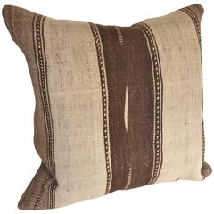 Custom Moroccan Pillow Cut from a Vintage Wool Hand Loomed Ourika Kilim