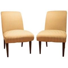Pair of High Quality Viennese Biedermeier Style Art Deco Flare Slipper Chairs