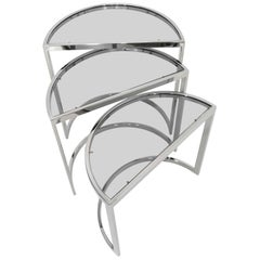 Nesting Tables in Chrome and Smoked Glass