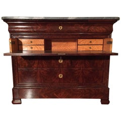 Antique French Walnut Louis Philippe Secretaire Drawer Commode