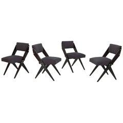 Jose Zanine de Caldas Four Grey Dining Chairs Brazilian Mid-Century ModernDesign