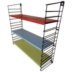 Vintage Retro Red, Yellow and Grey Metal Tomado Shelving Rack