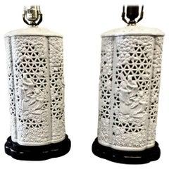 Pair of Pierced Blanc de Chine Lamps