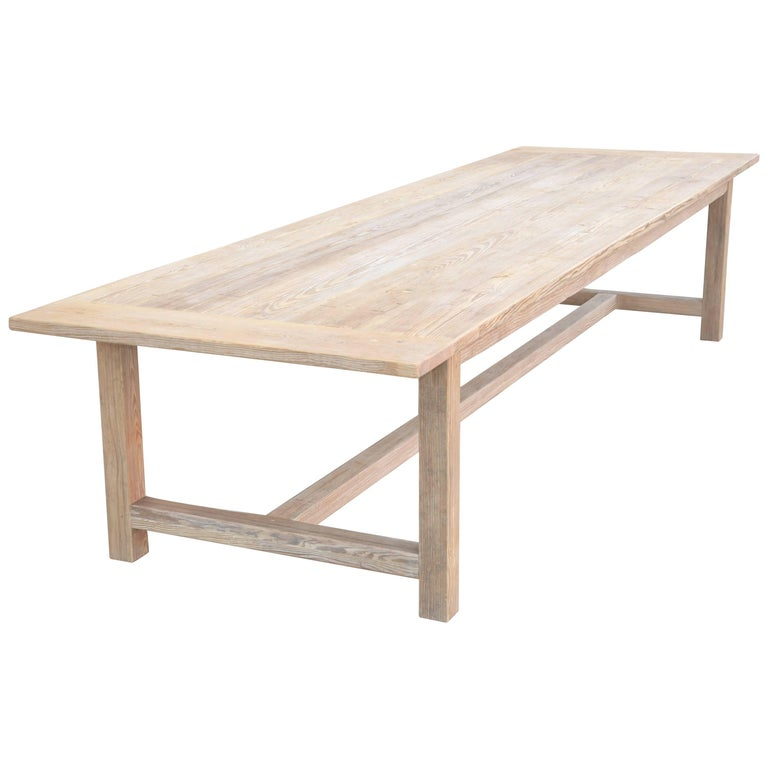 Large Custom Farm Table in Heart Pine, Built to Order by Petersen Antiques