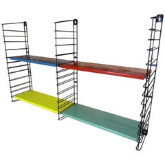 Large Vintage Retro Blue, Red, Yellow and Green Metal Tomado Shelving Rack
