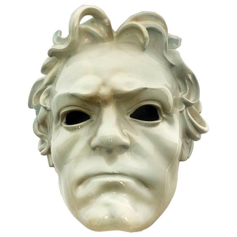 Beautiful Ceramic Portrait of Ludwig Van Beethoven, Italy, circa 1910 For Sale