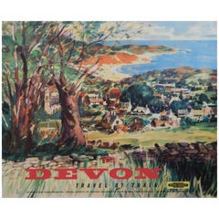 Original Vintage British Railways Poster, Devon, Travel by Train