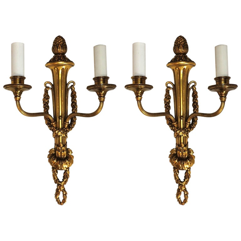 Pair of Caldwell Two-Arm Brass Bronze Wreath Neoclassical Regency Sconces