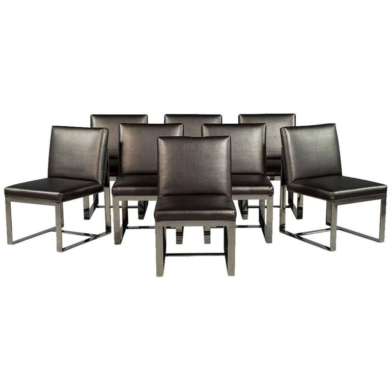 Set of Eight Chrome Modern Dining Chairs