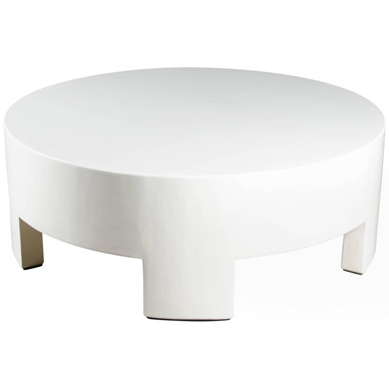 Low Round Table - Cream Lacquer by Robert Kuo, Limited Edition