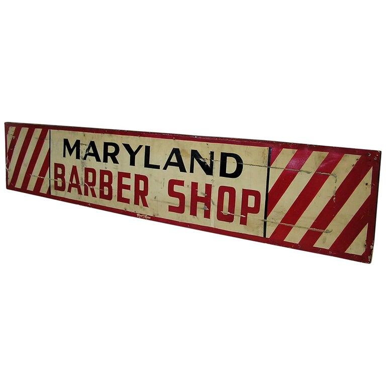 1950s Metal Maryland Barbershop Sign