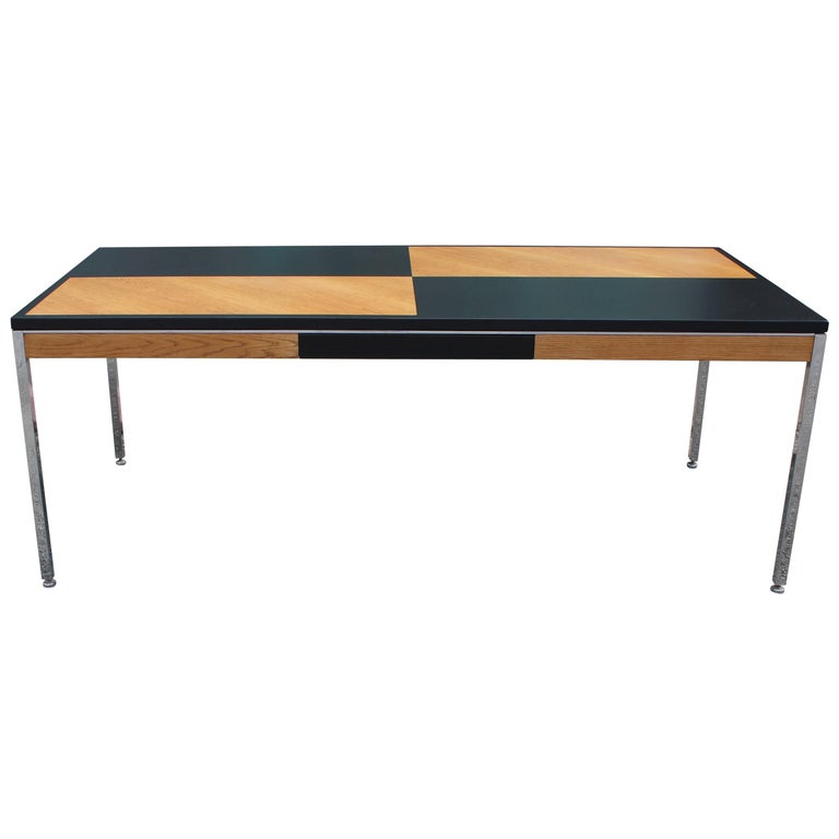 Stunning Modern Two-Tone and Chrome Rectangular Steelcase Style Executive Desk
