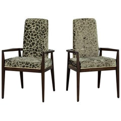 Pair of Vintage Crackled Velvet Arm Chairs