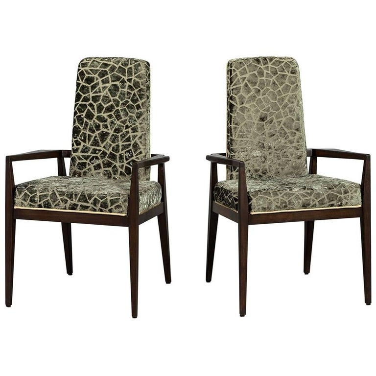 Pair of Vintage Crackled Velvet Arm Chairs For Sale