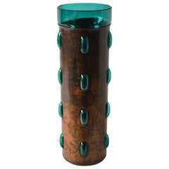 Cylindrical  Vase in Turquoise Glass and Oxidized Copper by Nanny Still