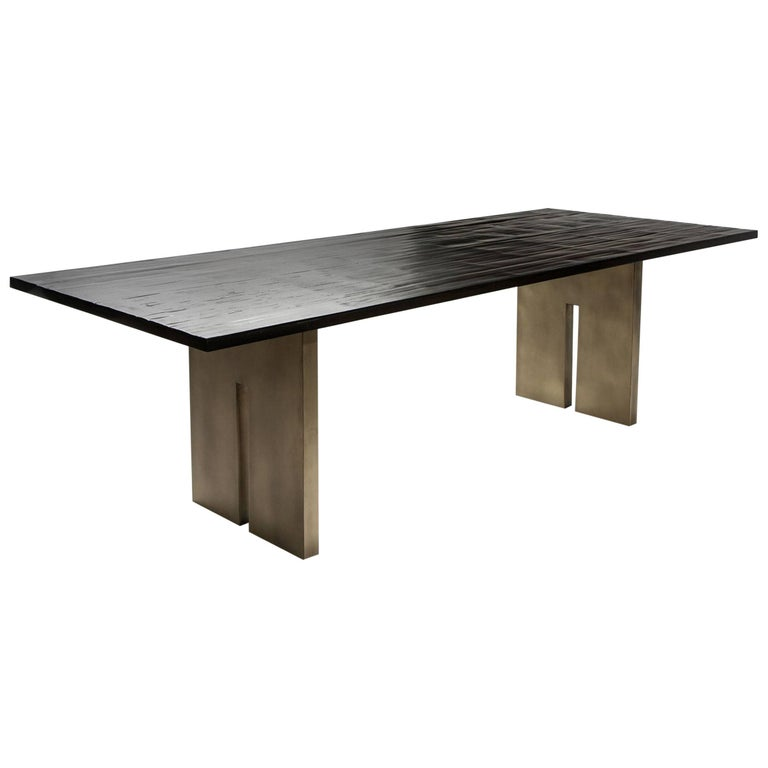 Contemporary Salome Dining Table with Split Bamboo and Brass by Aguirre Design