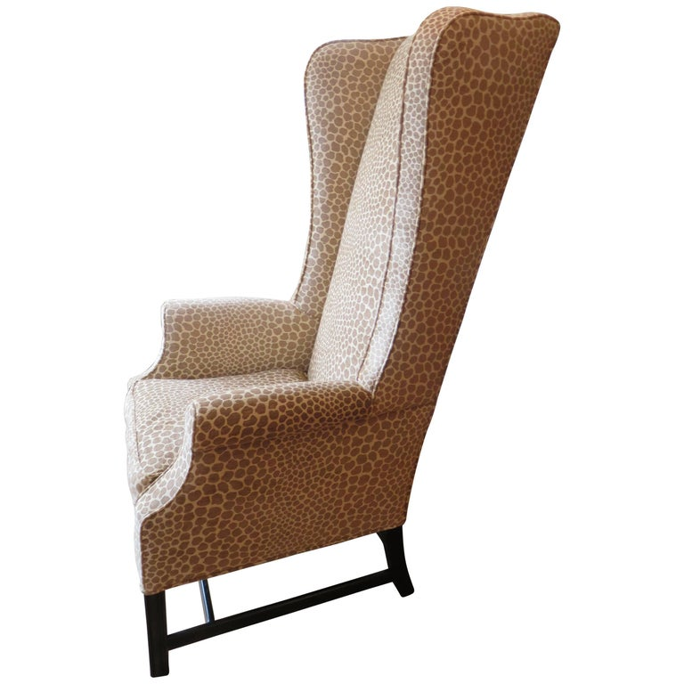 English Custom Super High Backed Wing Chair, circa 1920s For Sale