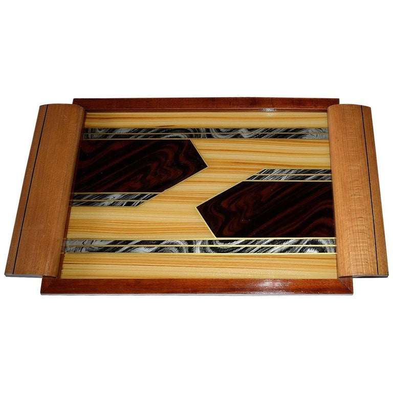 Art Deco Geometric Reverse Painted Tray