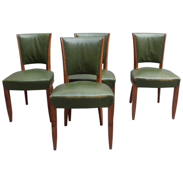 Set of 4 fine french art deco rosewood chairs 4 matching for Matching arm chairs
