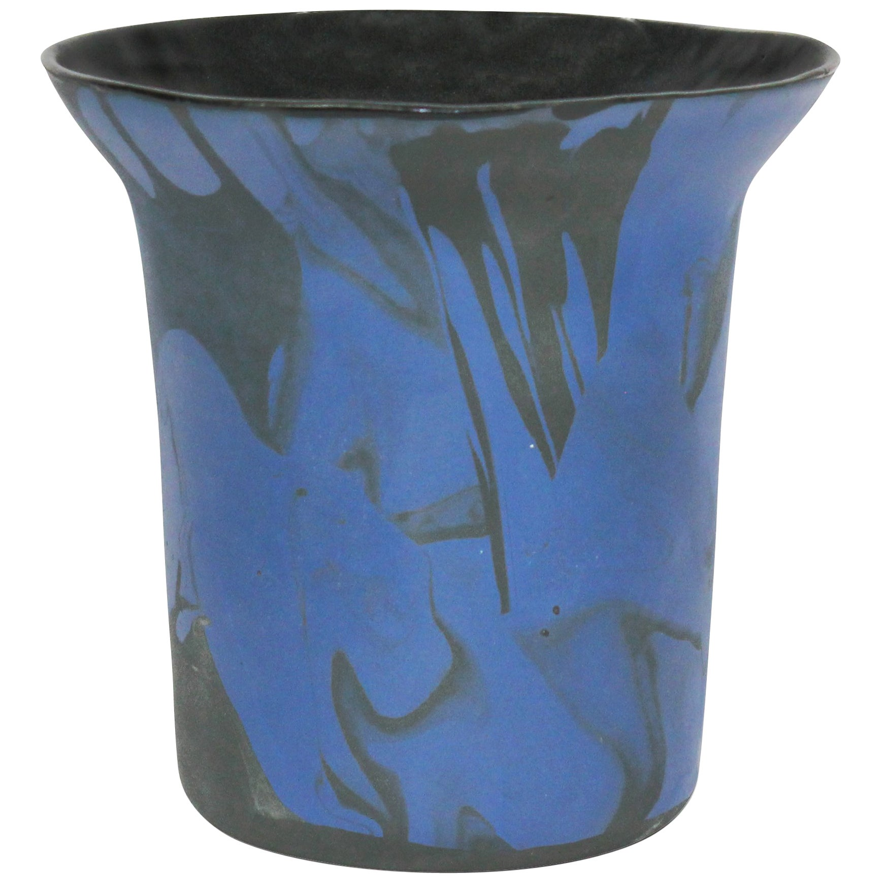 Contemporary Marbled Ceramic Vase Pearlescent Blue and Black, Handmade