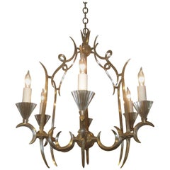 Dagobert Peche Attributed Six-Light Silvered Bronze Chandelier