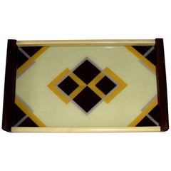 1930s Art Deco Geometric Reverse Painted Tray