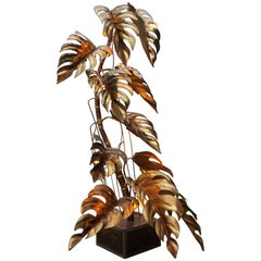 Extra Large Floor Leaf Lamp from Maison Jansen