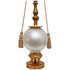 Mid-Century Modern Gilt and Opaline Glass Lamp