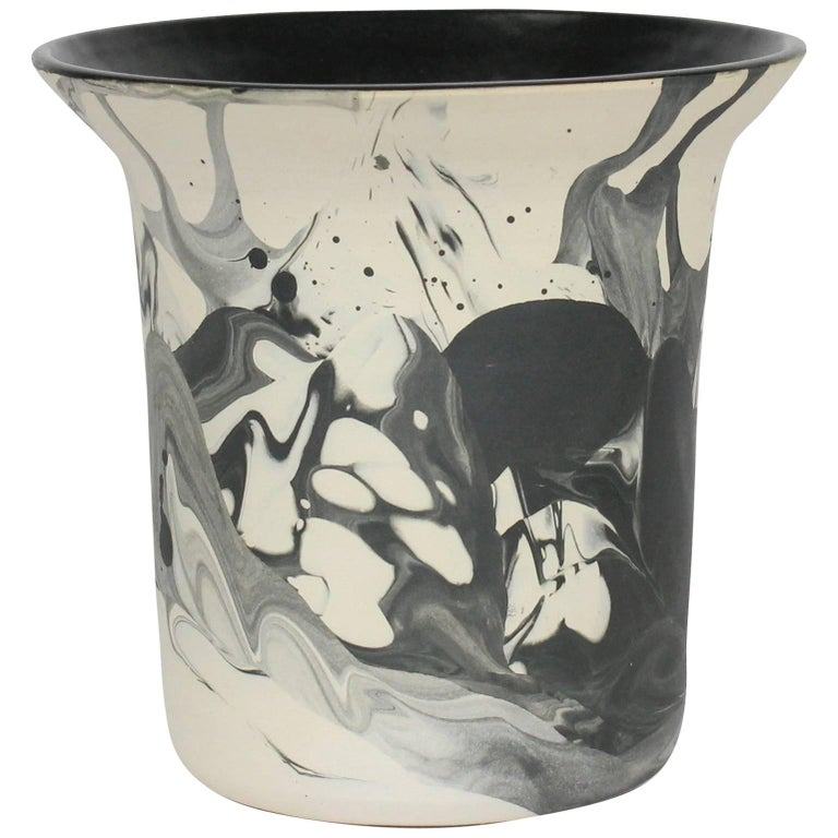 Contemporary Marbled Ceramic Vase in Black and White Raw Clay and Glaze Handmade For Sale