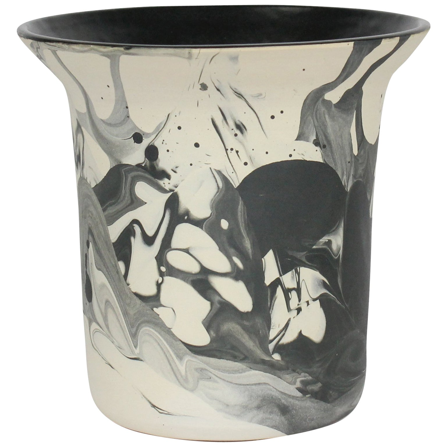 Contemporary Marbled Ceramic Vase in Black and White Raw Clay and Glaze Handmade