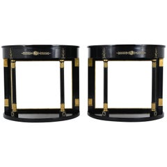 Pair of Empire-Style Ebonized Demi-Lune Console Tables