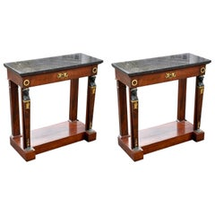 Pair of Period Empire Mahogany Console Tables in Egyptian Neoclassical Form