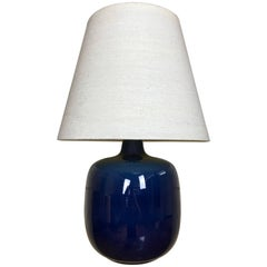 Blue Ceramic Art Pottery Lotte Bostlund Table Lamp with Original Jute Shade