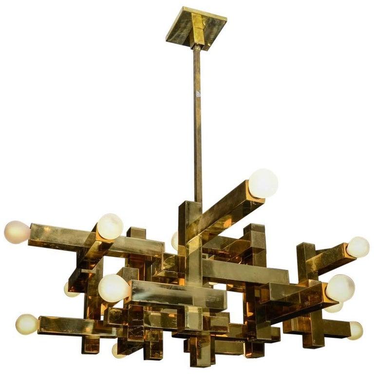 Gaetano Sciolari Brass Geometric Chandelier