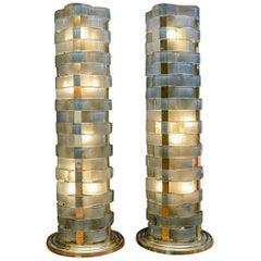 Glustin Luminaires Creation Short Floor Lamps with Murano Ribbons