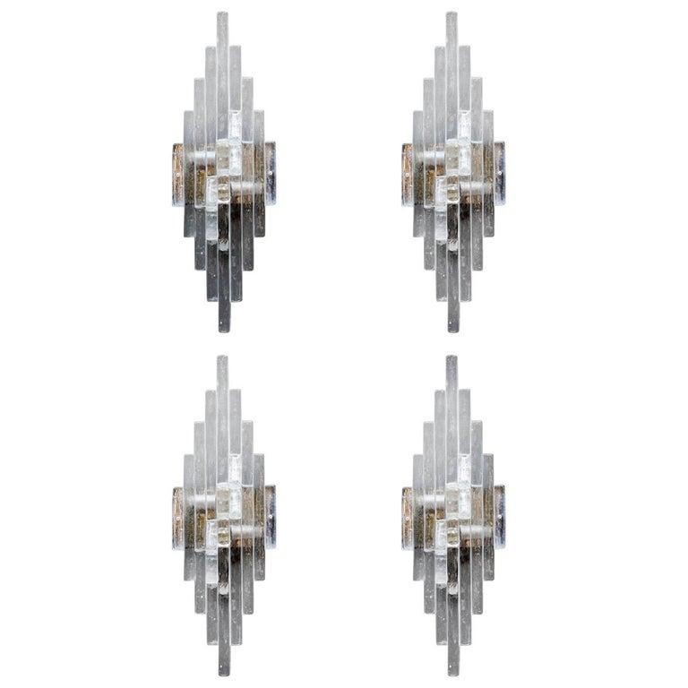 Set of Four Glass Poliarte Wall Sconces