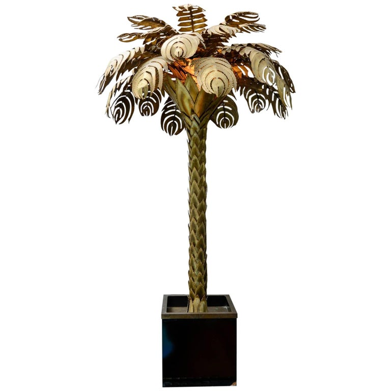 Brass Palm Tree Lamp Attributed to Jansen