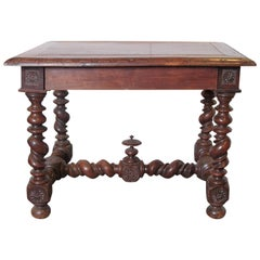 19th Century French Walnut Barley Twist Table